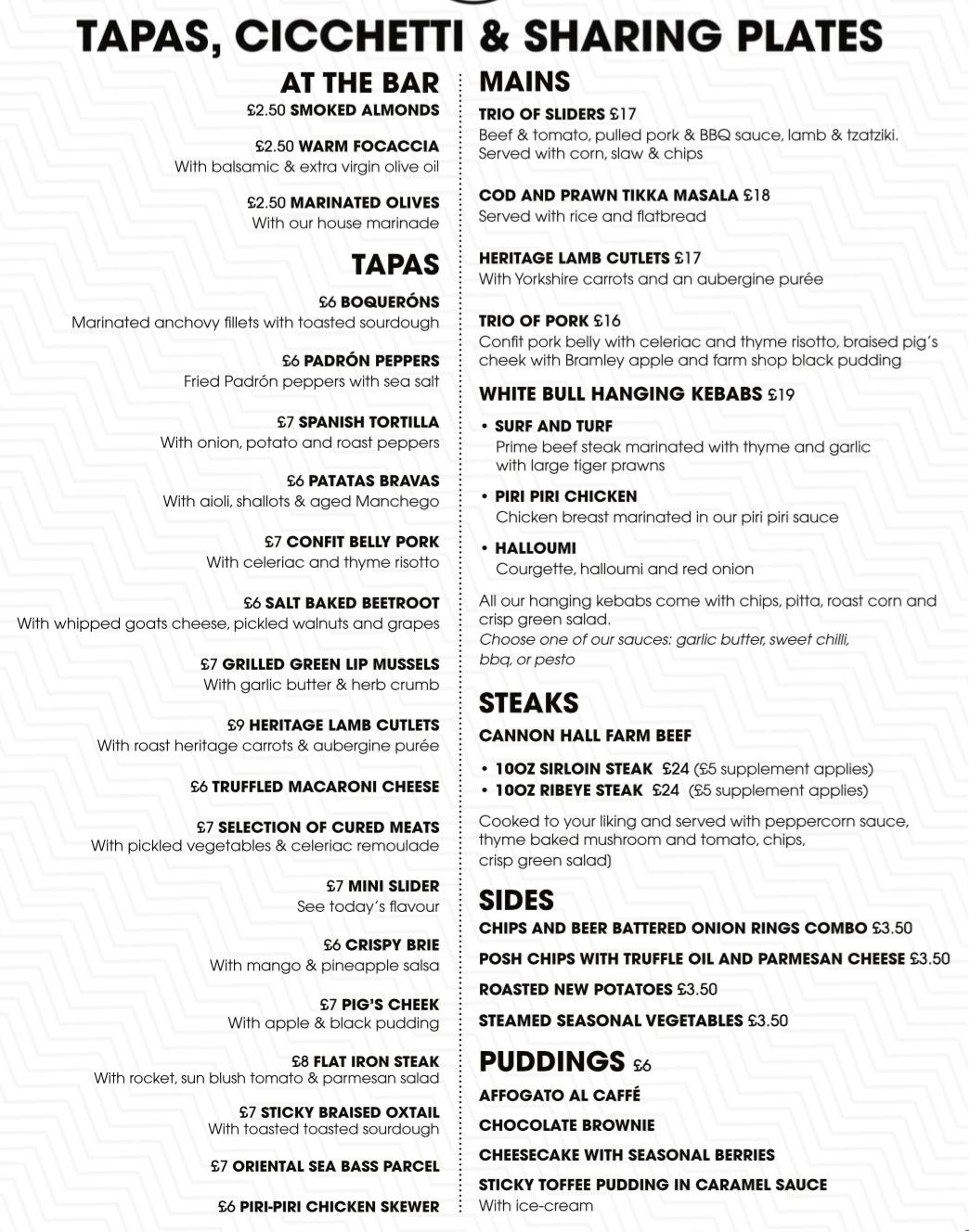 Tapas Feb 2019 menu